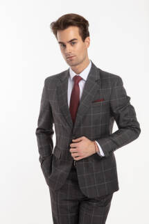 BOLONIA Suit - szary garnitur w kratę windowpane
